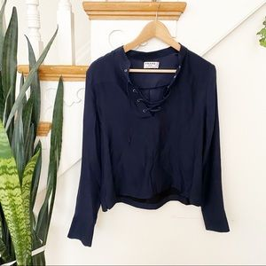 Frame lace up front navy blue blouse SILK sz XS